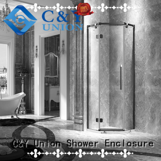 C&Y Union stable frameless glass doors cabin for bath