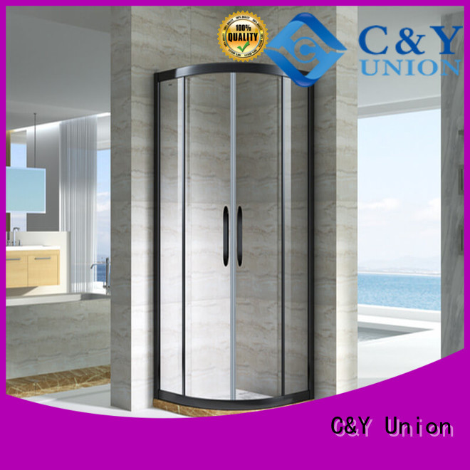 C&Y Union framed glass shower with sliding door for corner