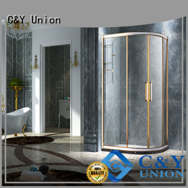 C&Y Union aluminum framed sliding glass shower doors sliding for standalone showers