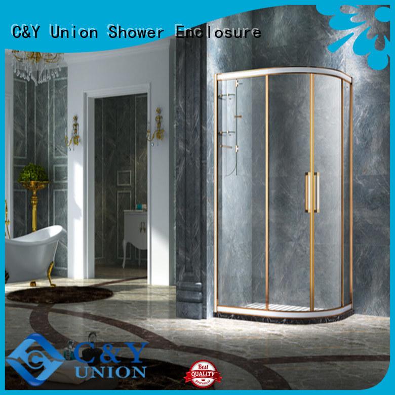 C&Y Union stainless steel framed glass shower door with sliding door for corner