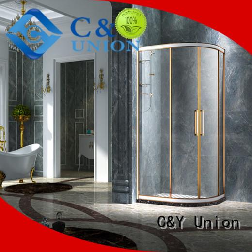 C&Y Union framed glass shower door with sliding door for bathroom