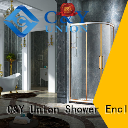 C&Y Union aluminum semi framed shower door for bathtub showers