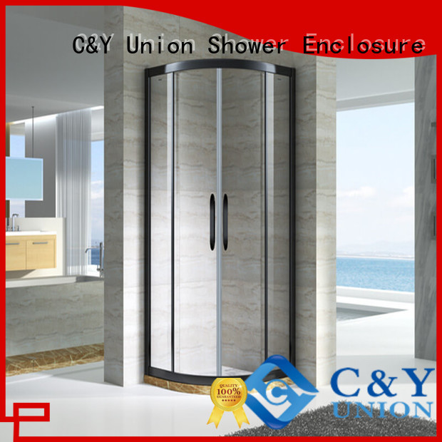 C&Y Union framed shower glass doors with sliding door for standalone showers