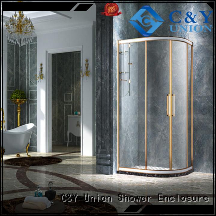 C&Y Union stainless steel framed shower enclosure for corner