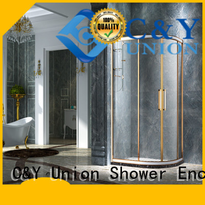 C&Y Union durable framed glass shower with sliding door for standalone showers