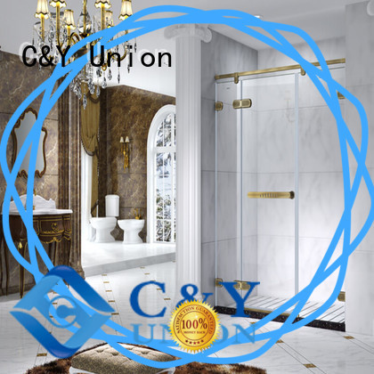 C&Y Union frameless glass shower doors cabin for bathtub