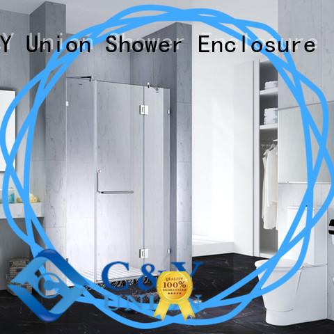C&Y Union semi frameless shower door cabin for bathtub