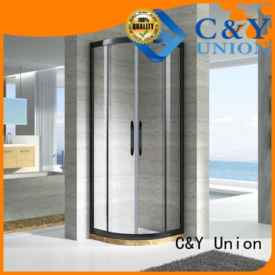stainless steel framed glass shower enclosure with sliding door for bathtub showers