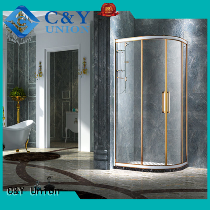 stainless steel framed glass shower enclosure with sliding door for bathroom