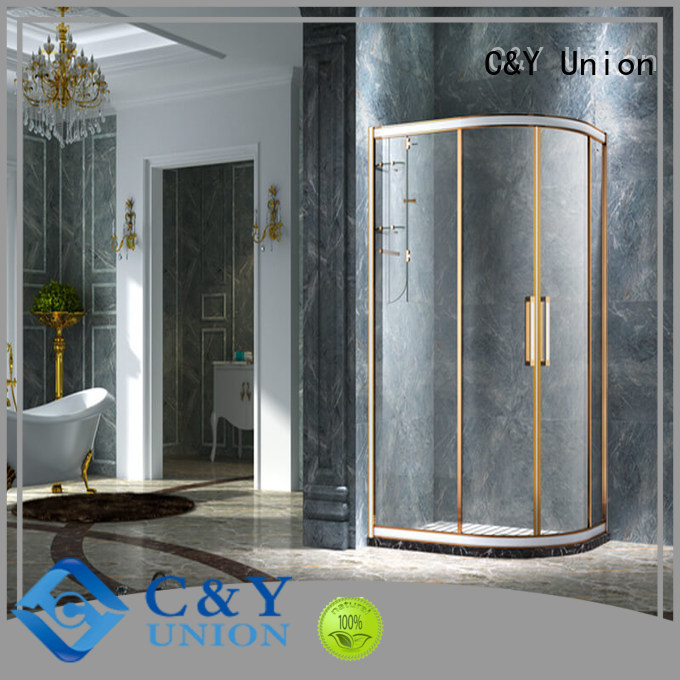 C&Y Union durable framed glass shower with sliding door for bathroom
