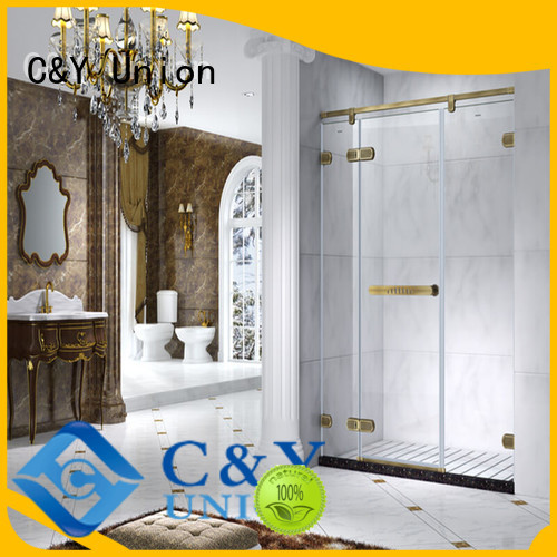 C&Y Union frameless glass doors cubicles for tub